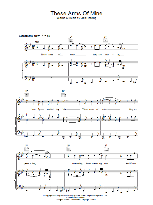 These Arms Of Mine (Piano, Vocal & Guitar)
