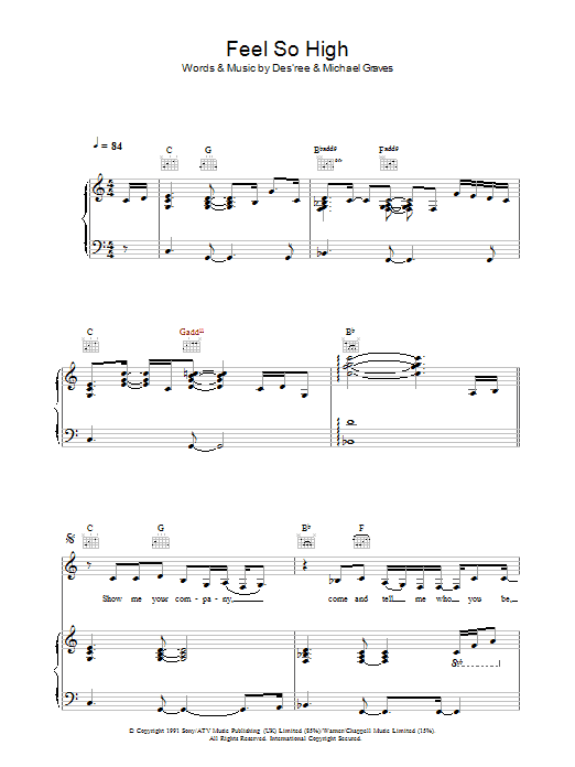 Feel So High (Piano, Vocal & Guitar)