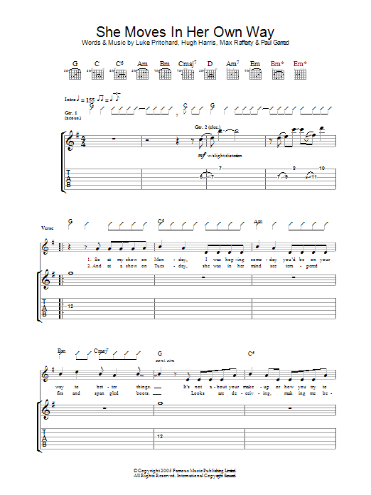 She Moves In Her Own Way (Guitar Tab)