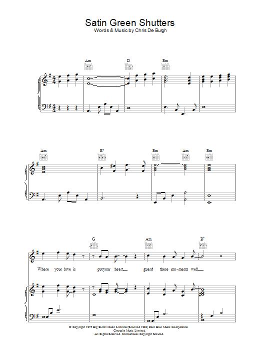 Satin Green Shutters (Piano, Vocal & Guitar)