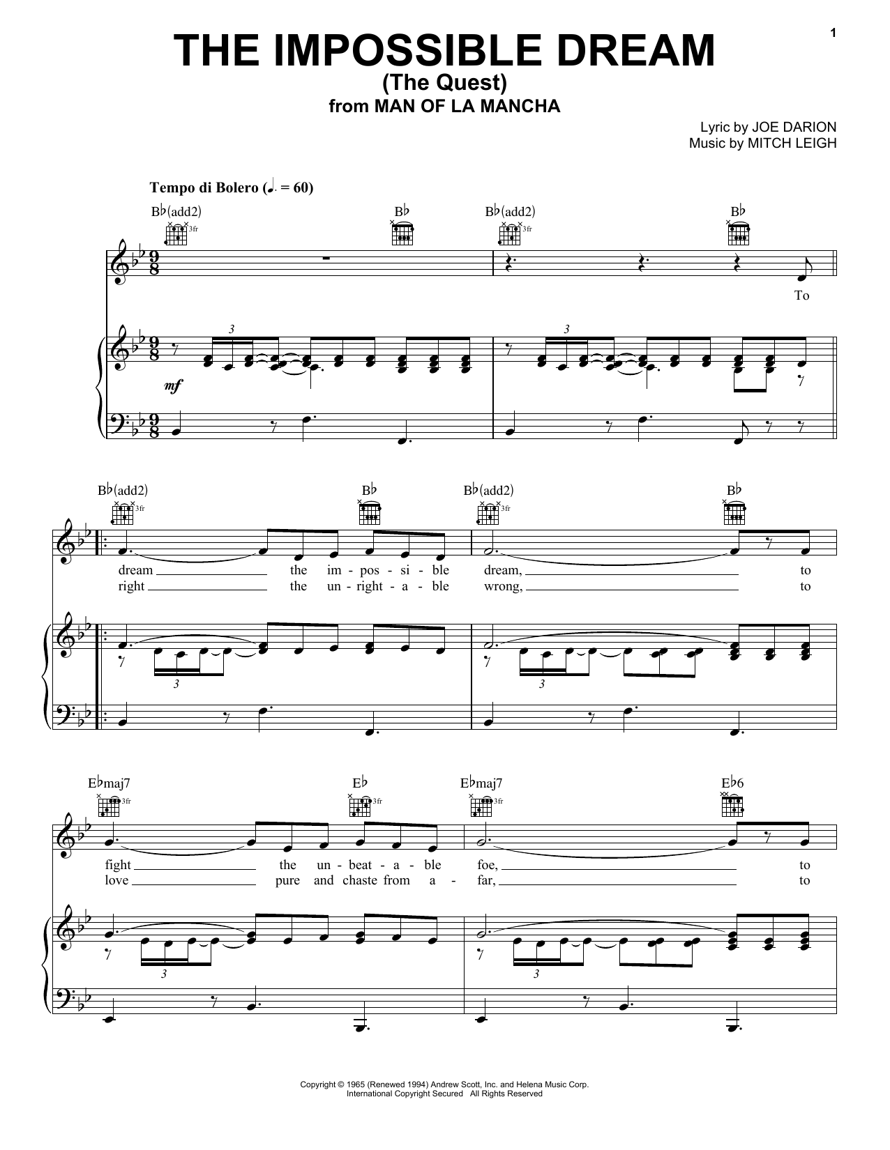 The Impossible Dream (The Quest) Sheet Music