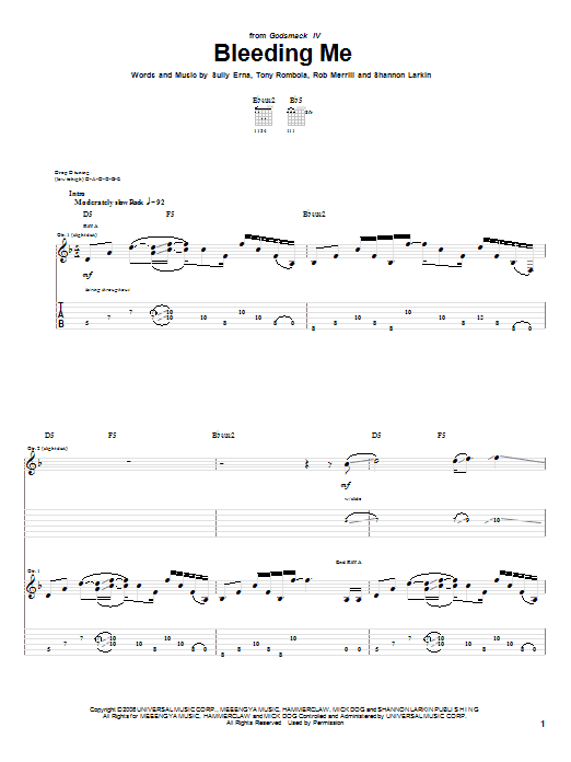 Tablature guitare Bleeding Me de Godsmack - Tablature Guitare