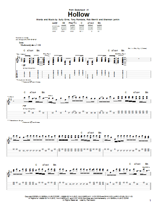 Tablature guitare Hollow de Godsmack - Tablature Guitare