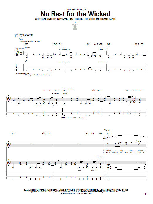 Tablature guitare No Rest For The Wicked de Godsmack - Tablature Guitare