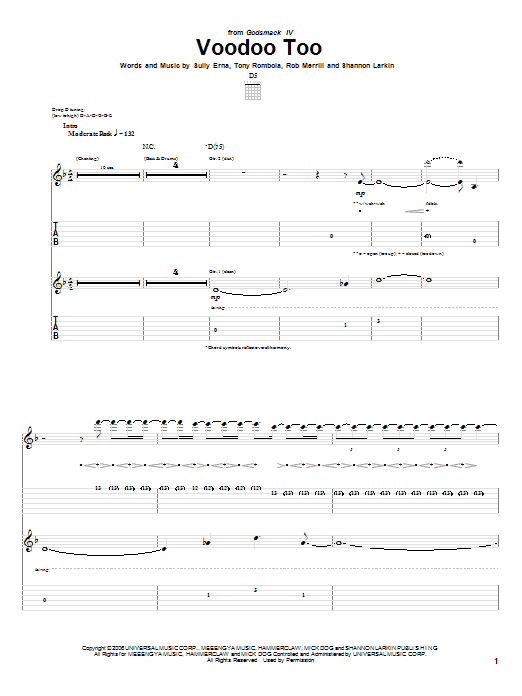 Tablature guitare Voodoo Too de Godsmack - Tablature Guitare