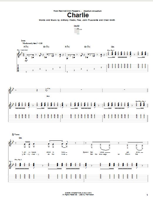 Tablature guitare Charlie de Red Hot Chili Peppers - Tablature Guitare