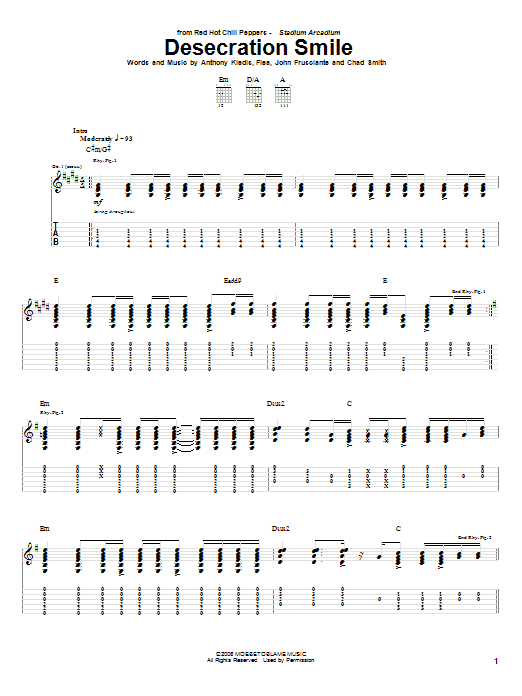 Tablature guitare Desecration Smile de Red Hot Chili Peppers - Tablature Guitare