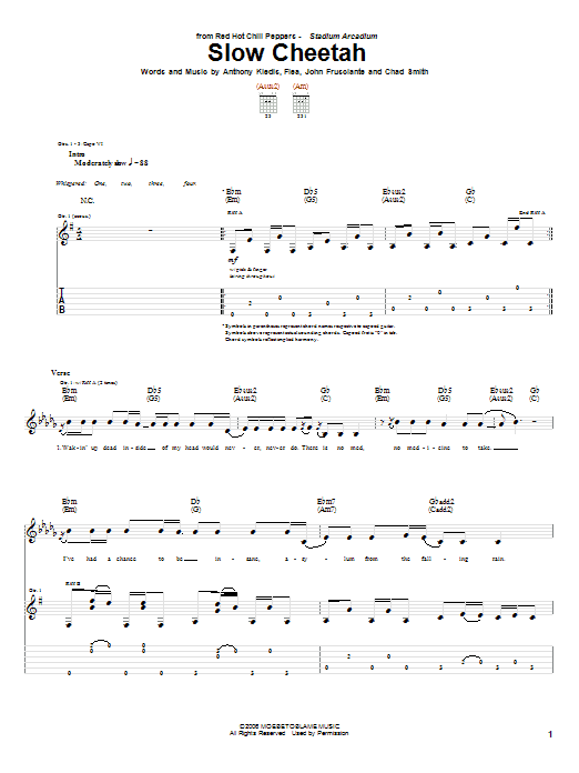 Slow Cheetah Sheet Music