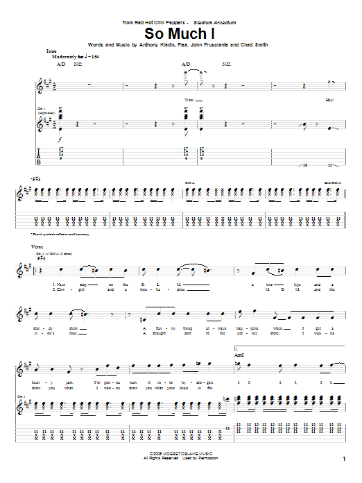 Tablature guitare So Much I de Red Hot Chili Peppers - Tablature Guitare