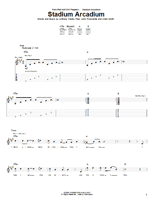 Tablature guitare Stadium Arcadium de Red Hot Chili Peppers - Tablature Guitare