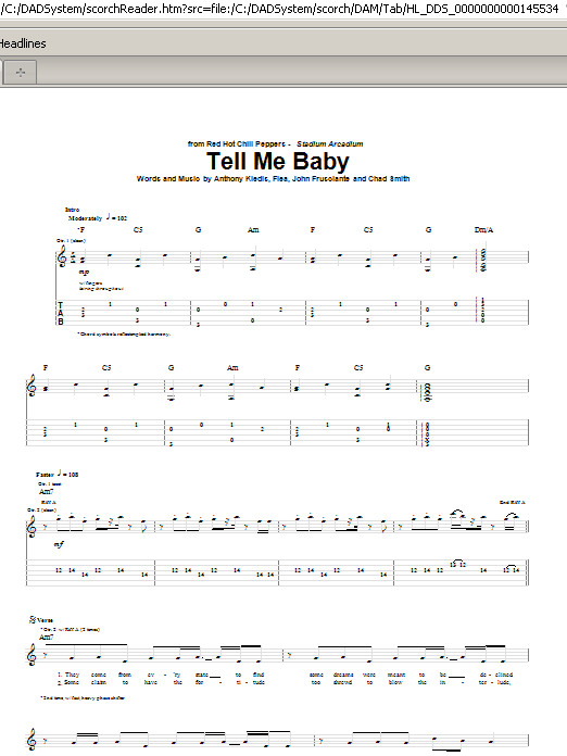 Tablature guitare Tell Me Baby de Red Hot Chili Peppers - Tablature Guitare