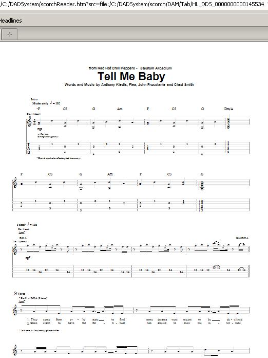 Tell Me Baby Sheet Music