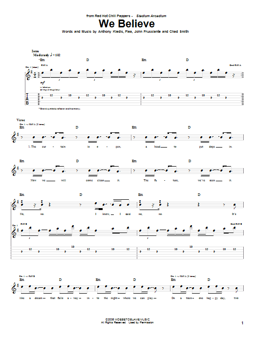 Tablature guitare We Believe de Red Hot Chili Peppers - Tablature Guitare