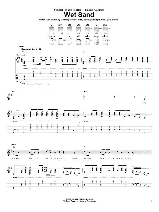 Tablature guitare Wet Sand de Red Hot Chili Peppers - Tablature Guitare