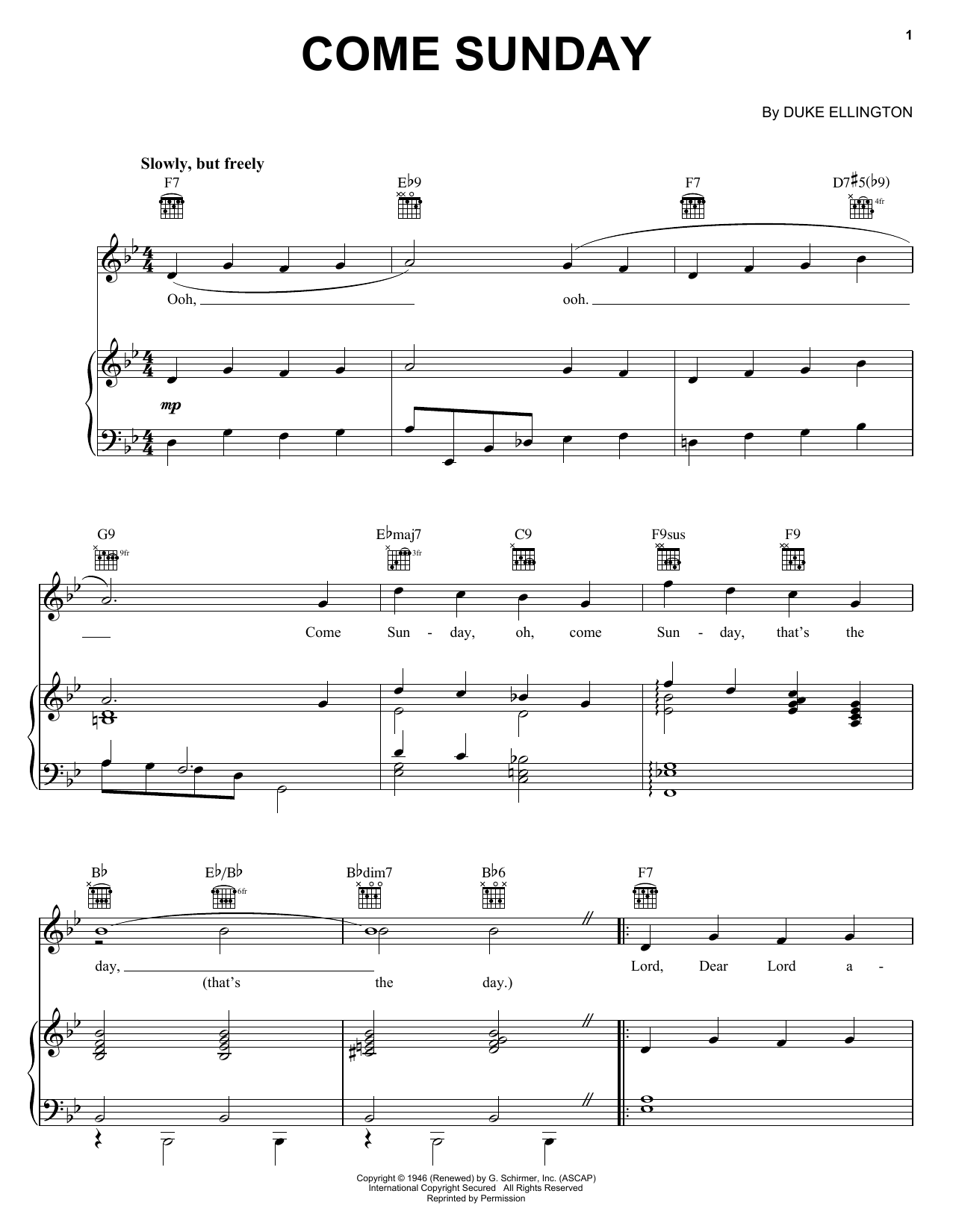 Come Sunday Sheet Music