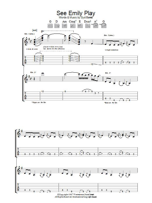 See Emily Play (Guitar Tab)