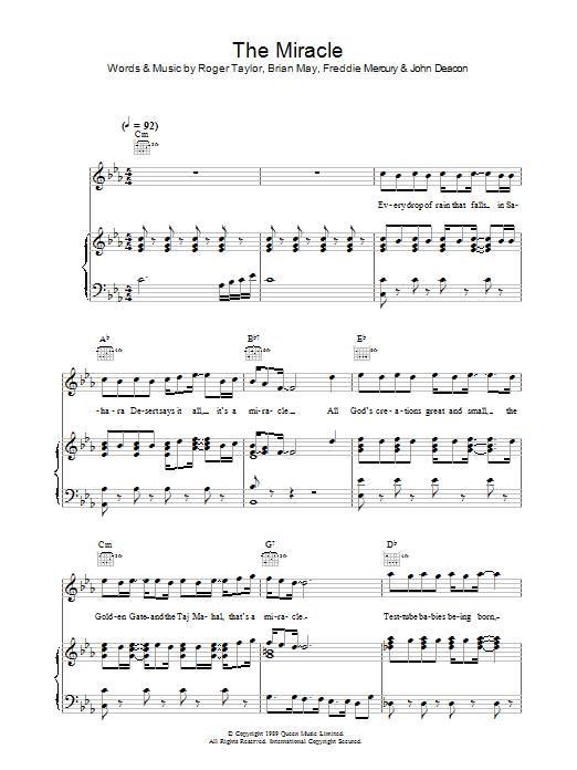 The Miracle (Piano, Vocal & Guitar)