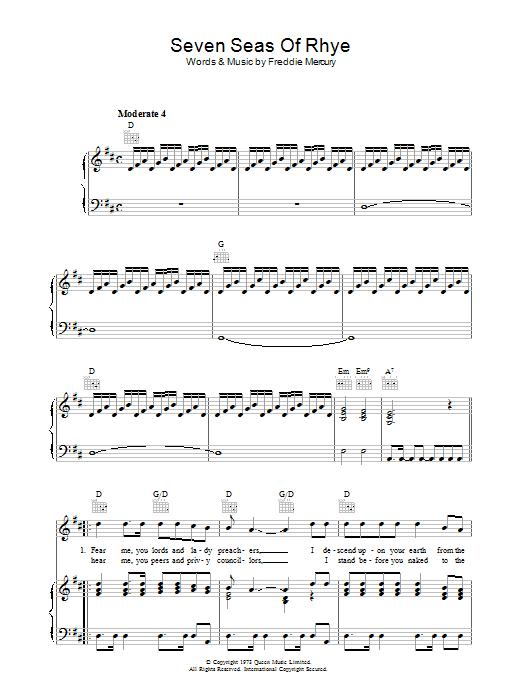 Seven Seas Of Rhye Sheet Music