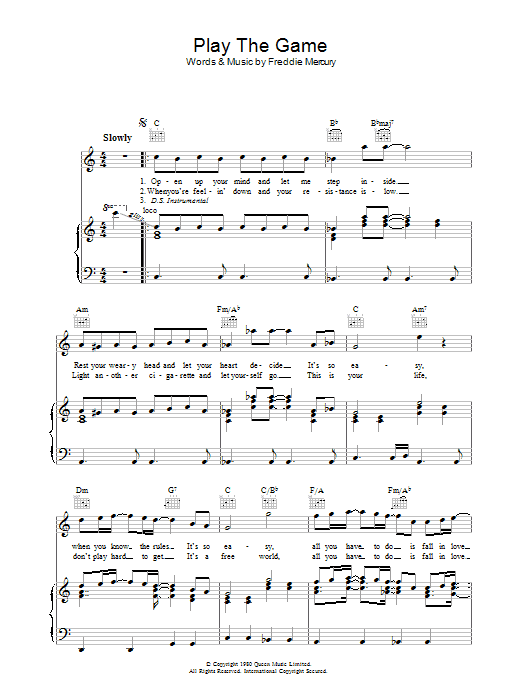 Play The Game (Piano, Vocal & Guitar)