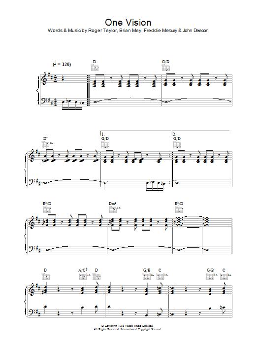 One Vision (Piano, Vocal & Guitar)