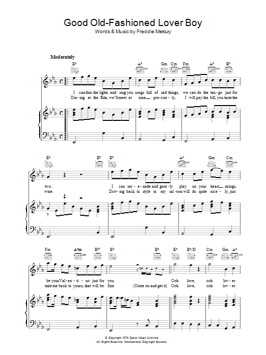 Good Old Fashioned Lover Boy Sheet Music