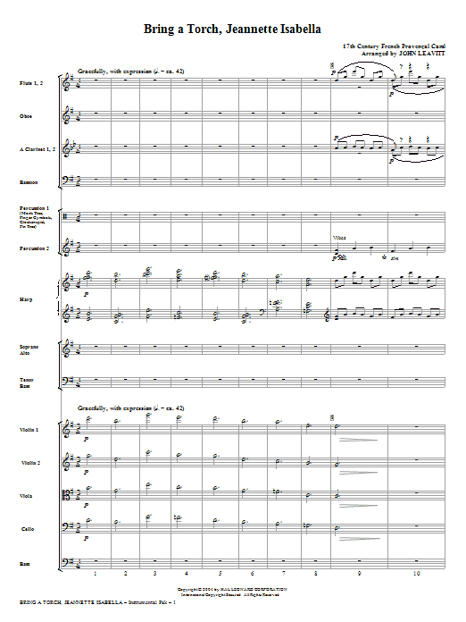 Bring a Torch, Jeanette Isabella - Full Score (Choir Instrumental Pak)