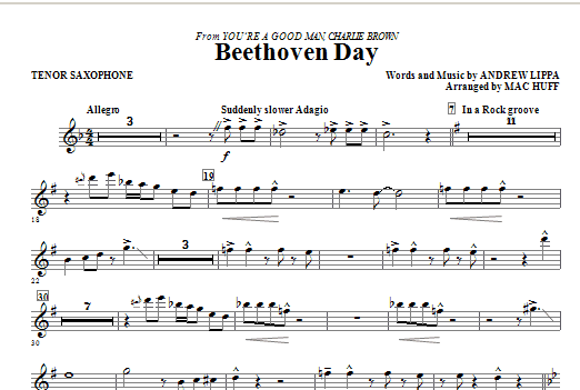 Beethoven Day - Tenor Sax (Choir Instrumental Pak)