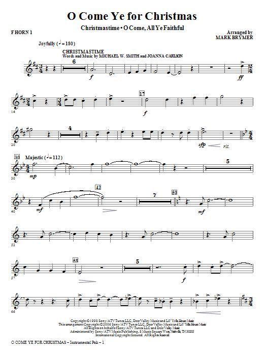 O Come Ye For Christmas (Medley) - F Horn 1 Sheet Music