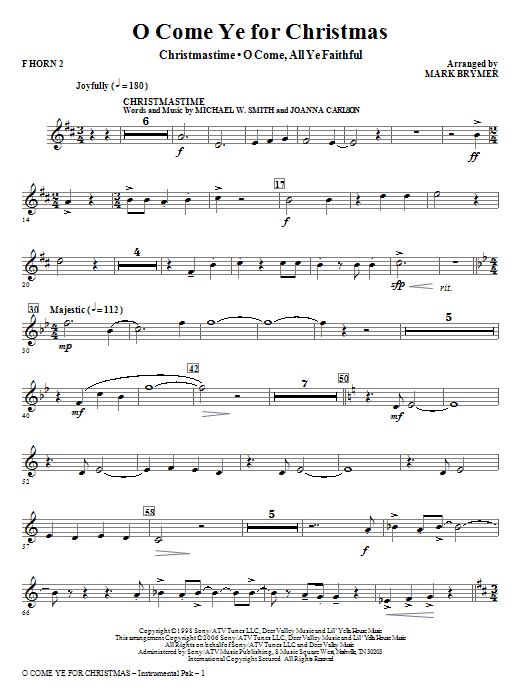 O Come Ye For Christmas (Medley) - F Horn 2 Sheet Music
