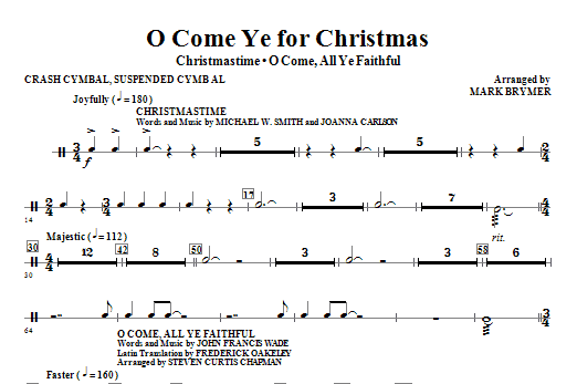 O Come Ye For Christmas (Medley) - Cymbals Sheet Music
