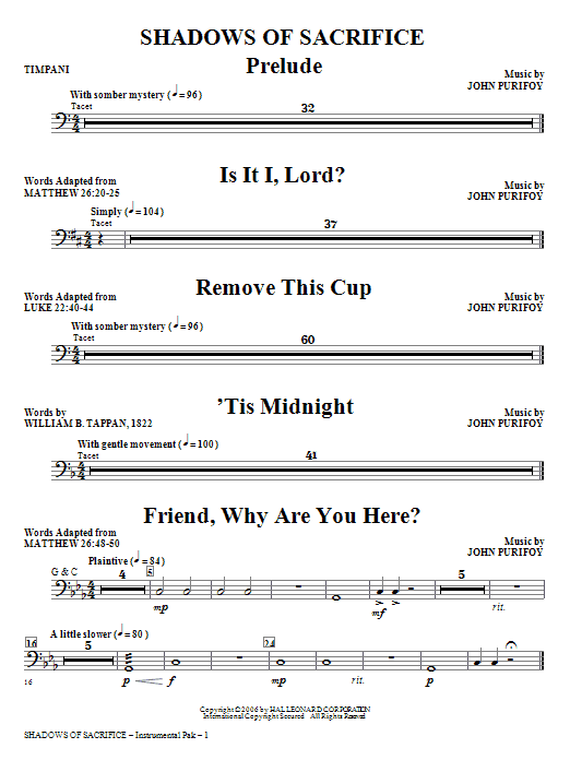 Shadows of Sacrifice - Timpani Sheet Music