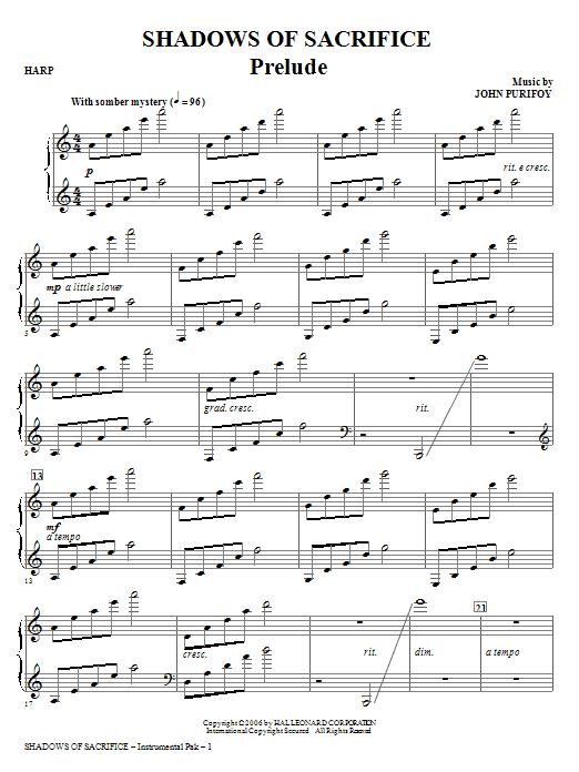 Shadows of Sacrifice - Harp Sheet Music