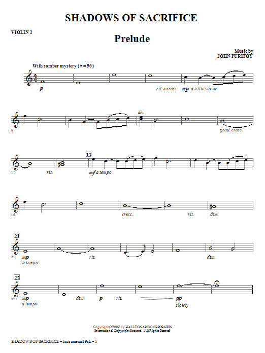 Shadows of Sacrifice - Violin 2 Sheet Music