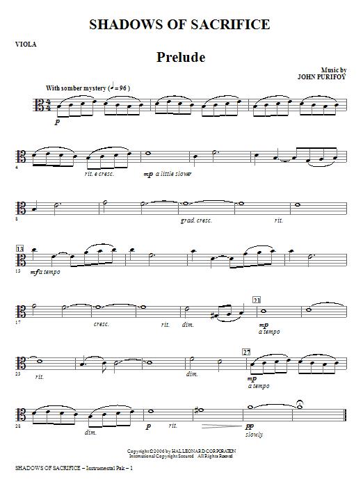 Shadows of Sacrifice - Viola Sheet Music