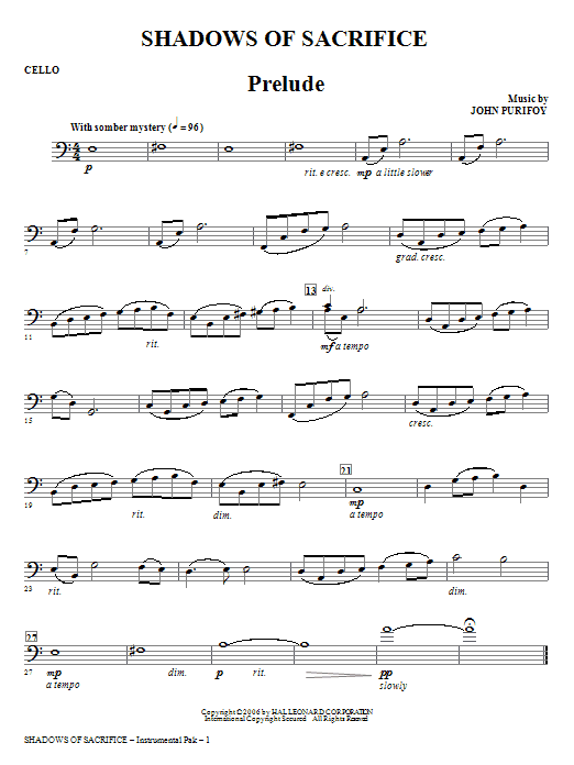 Shadows of Sacrifice - Cello Sheet Music