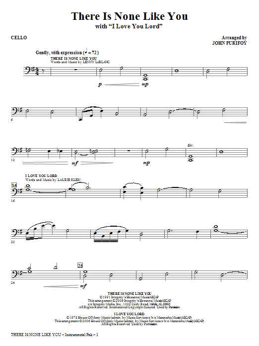 There Is None Like You With I Love You Lord Cello Sheet Music