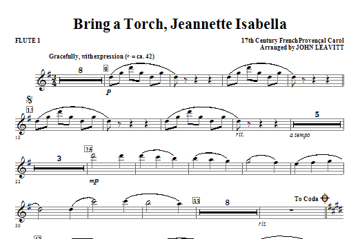 Bring a Torch, Jeanette Isabella - Flute 1 Sheet Music