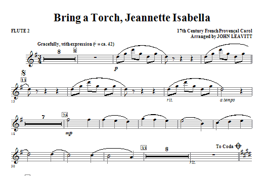 Bring a Torch, Jeanette Isabella - Flute 2 Sheet Music