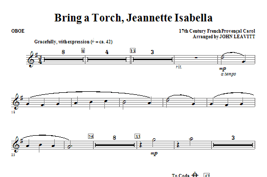 Bring a Torch, Jeanette Isabella - Oboe Sheet Music