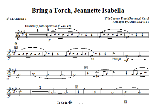 Bring a Torch, Jeanette Isabella - Bb Clarinet 1 Sheet Music