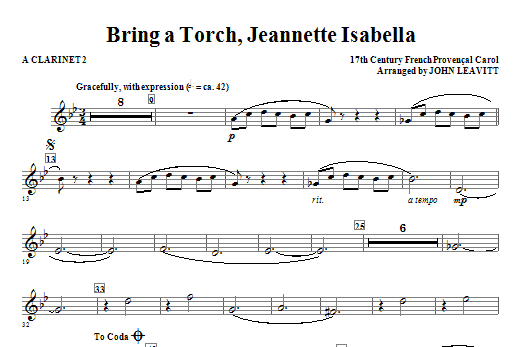 Bring a Torch, Jeanette Isabella - A Clarinet 2 Sheet Music