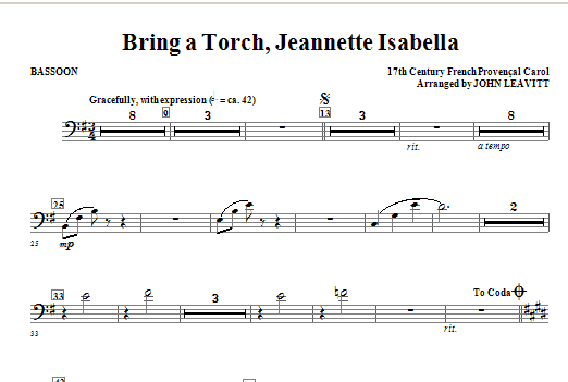 Bring a Torch, Jeanette Isabella - Bassoon Sheet Music