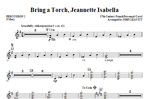 Bring a Torch, Jeanette Isabella - Percussion 2 Sheet Music