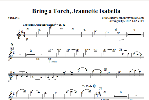 Bring a Torch, Jeanette Isabella - Violin 1 Sheet Music