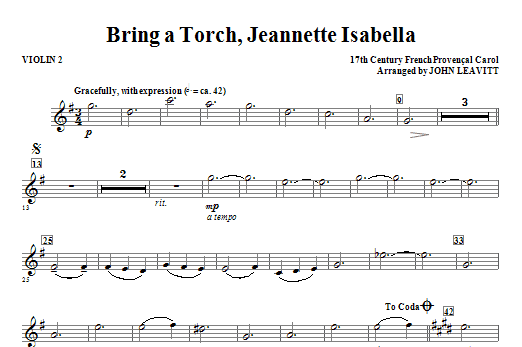 Bring a Torch, Jeanette Isabella - Violin 2 Sheet Music