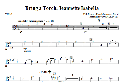 Bring a Torch, Jeanette Isabella - Viola Sheet Music