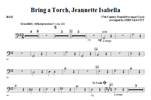 Bring a Torch, Jeanette Isabella - Bass Sheet Music