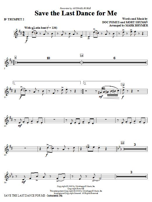 Save The Last Dance For Me (arr. Mark Brymer) - Bb Trumpet 2 (Choir Instrumental Pak)