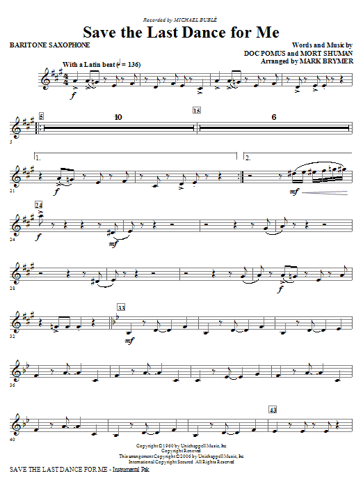 Save The Last Dance For Me (arr. Mark Brymer) - Baritone Saxophone (Choir Instrumental Pak)