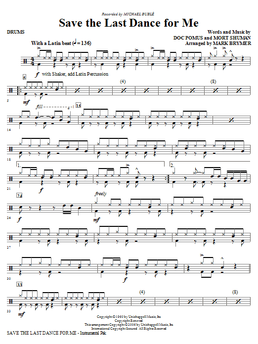 Save The Last Dance For Me (arr  Mark Brymer) - Drums - Sheet Music